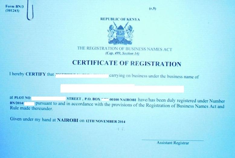 Eregulations kenya certificate of business registration yadclub Choice Image