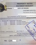 Official land rates clearance certificate receipt