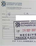 Communication Authority official receipt