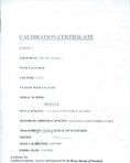 Certificate of calibration for the LPG tank