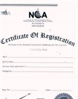 Certificate of registration of contractors