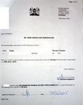 Certificate of name reservation