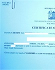 Authenticated certificate of registration