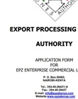 EPZ commercial enterprise application form