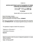 Notice of place of business- Form FC4