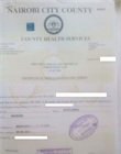 Food handlers health certificate