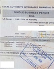 Official business permit receipt