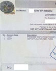 Official receipt for inspection and single business application fee