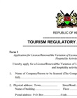 Tourism Licence application form