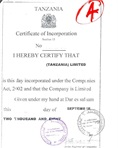 Notarized certificate of incorporation