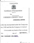 Certified certificate of incorporation