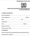 Inspection and inventory form for regulated tourism enterprises checklist