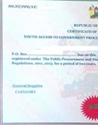 AGPO certificate of registration