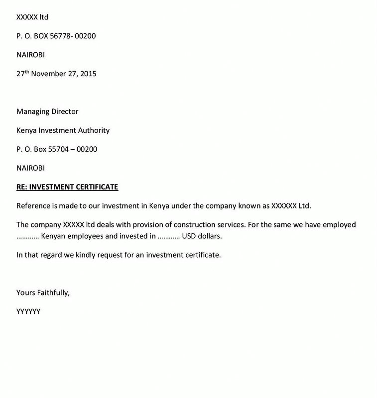 investment certificate request letter