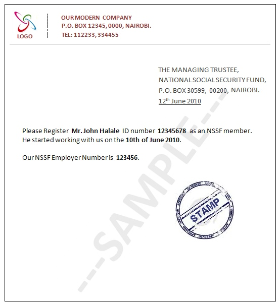 sample_introductory_letter..... Sample Application Letter To Hr Nssf on