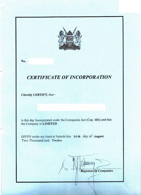 Eregulations kenya for Certificate of organization template