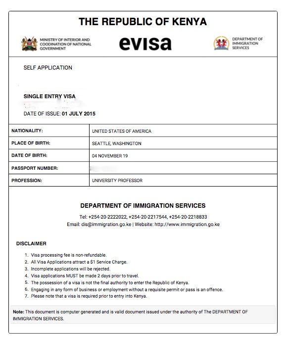 Kenya e visa print out invitation letter stopboris Choice Image